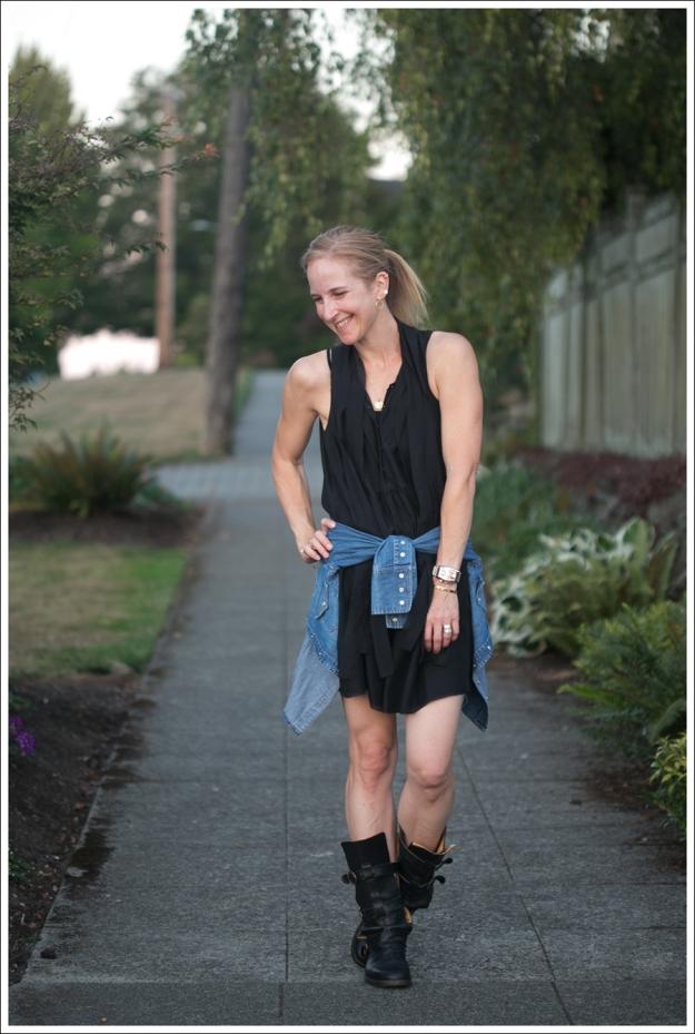Blog Twenty8Twelve Black Dress Gap Denim Shirt Fiorentin and Baker Boots-1