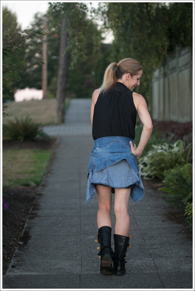 Blog Twenty8Twelve Black Dress Gap Denim Shirt Fiorentin and Baker Boots-2