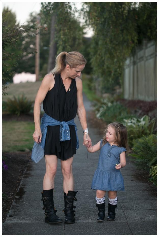 Blog Twenty8Twelve Black Dress Gap Denim Shirt Fiorentin and Baker Boots-3