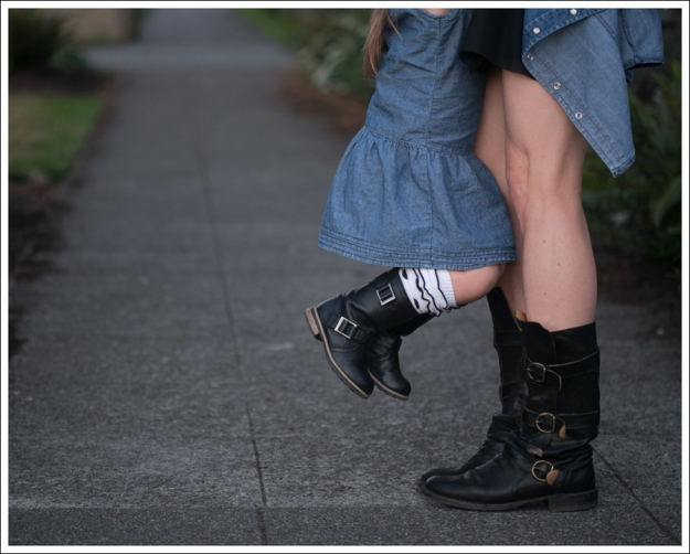 Blog Twenty8Twelve Black Dress Gap Denim Shirt Fiorentin and Baker Boots-6