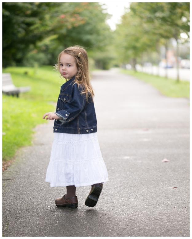 blog Gap Dark Jean Jacket Greendog White Boho Dress Sanita Clogs-2