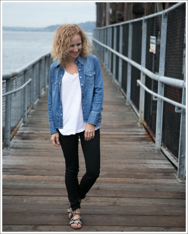 Blog Gap Denim Shirt HM Tank J Brand Coated Crinkle Zara Lace Up BW Sandals-1