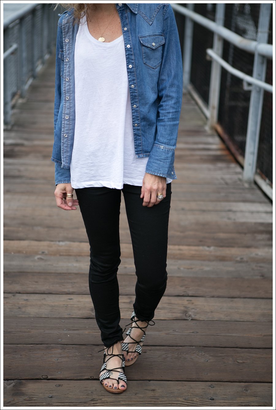 Blog Gap Denim Shirt HM Tank J Brand Coated Crinkle Zara Lace Up BW Sandals-2
