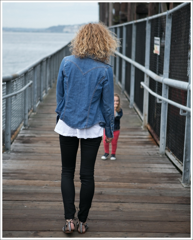 Blog Gap Denim Shirt HM Tank J Brand Coated Crinkle Zara Lace Up BW Sandals-4