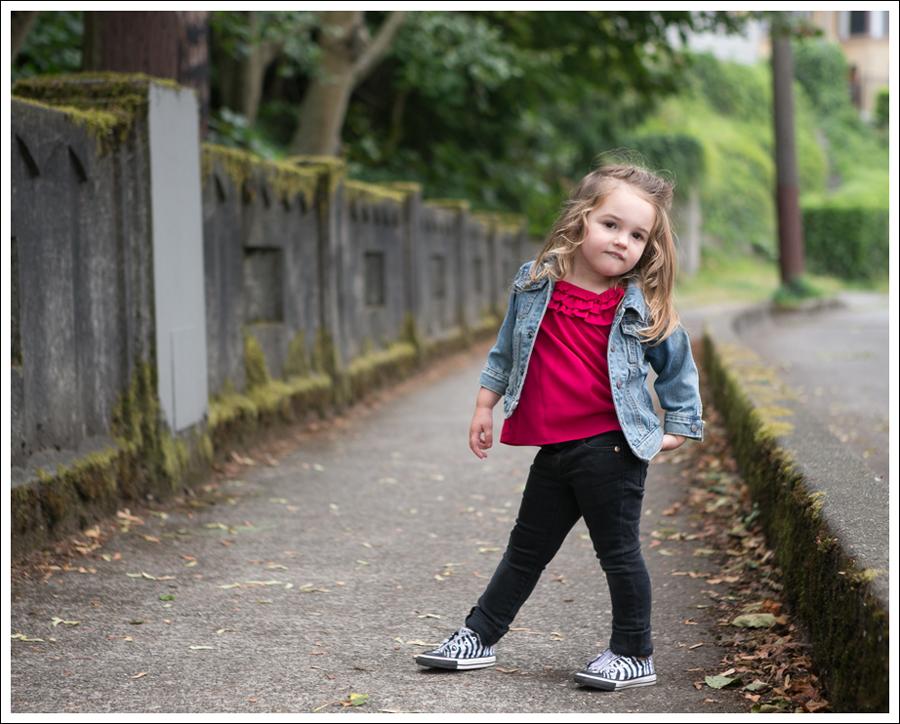 Blog Gap Jean Jacket Gap Ruffled Pink Top Peek Black Jeans Zebra Converse-5