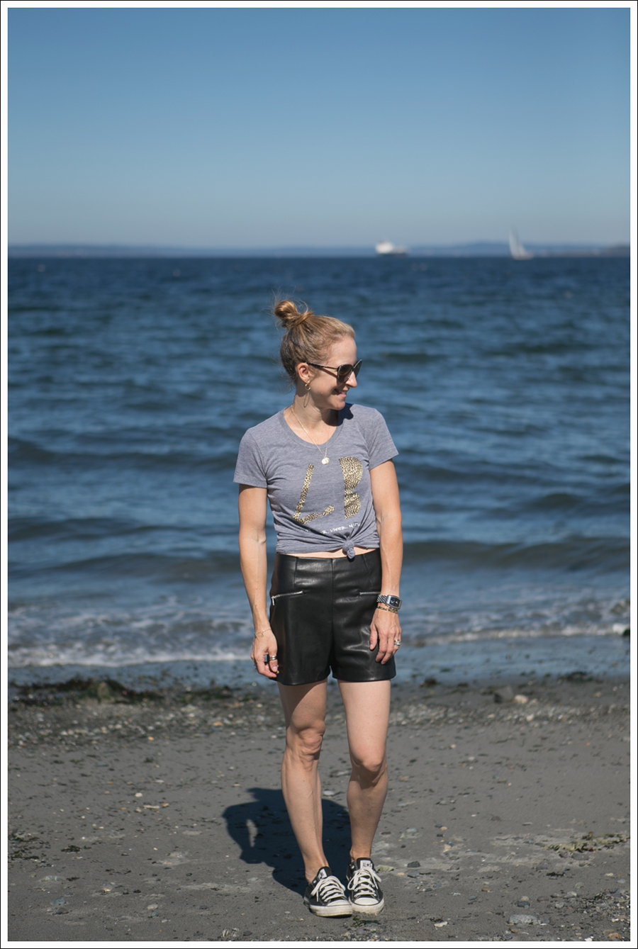 Blog Little Boogaweezin PLM Tee Zara High Waisted Faux Leather Shorts Black Converse Beach-1