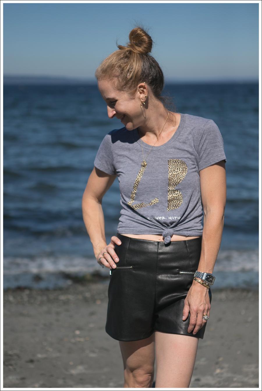 Blog Little Boogaweezin PLM Tee Zara High Waisted Faux Leather Shorts Black Converse Beach-2
