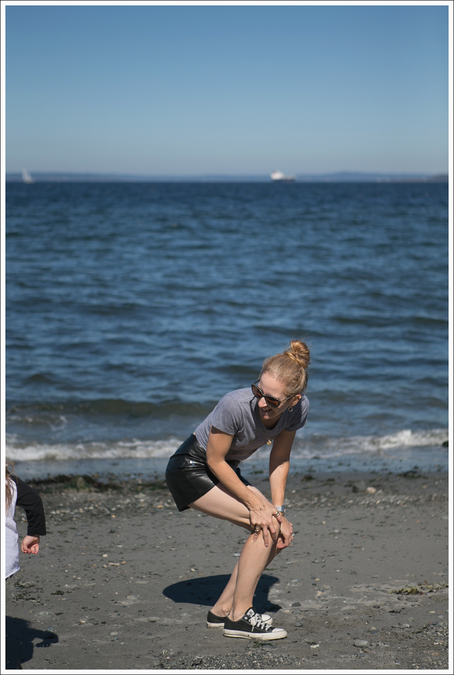 Blog Little Boogaweezin PLM Tee Zara High Waisted Faux Leather Shorts Black Converse Beach-5