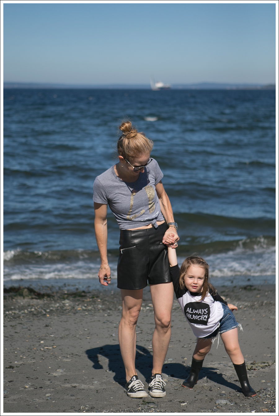 Blog Little Boogaweezin PLM Tee Zara High Waisted Faux Leather Shorts Black Converse Beach-7