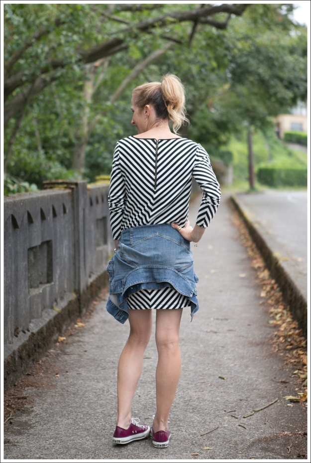 Blog Silence and Noise striped Dress Fuscia Converse Gap Jean Jacket-3