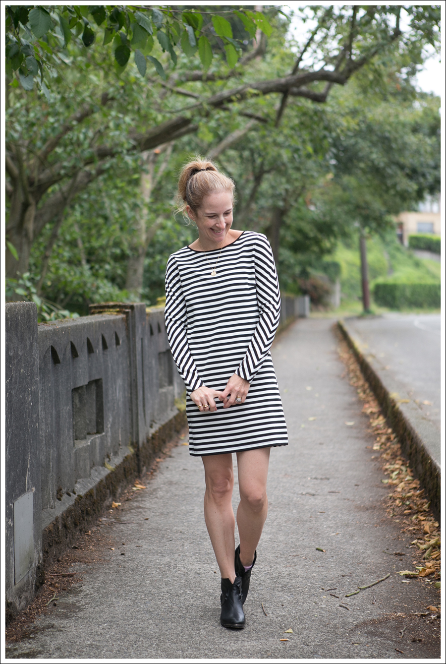 Blog Silence and Noise striped Dress SixtySeven Booties-1
