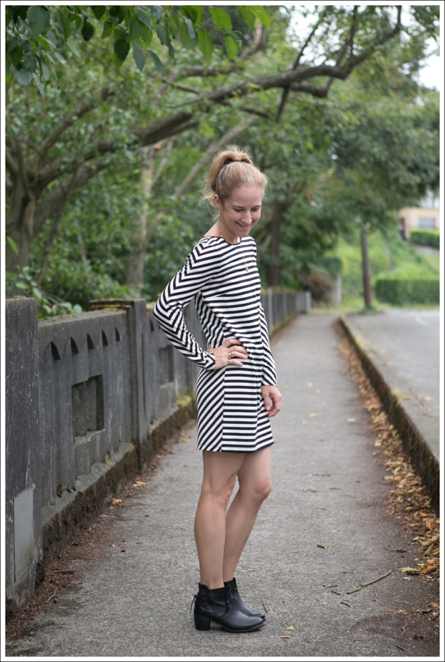 Blog Silence and Noise striped Dress SixtySeven Booties-3