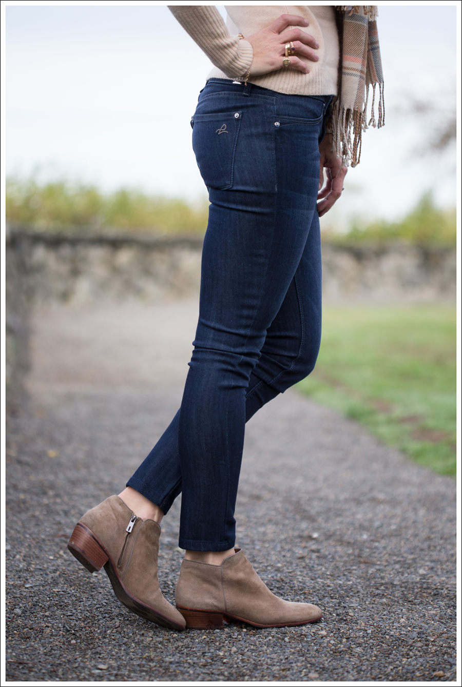 23323982c0bba0 1 Blog Vintage Brown Plaid Scarf Autumn Cashmere Sweater DL1961 Emma Bloom  Sam  Sam Edelman Petty Boots in putty ...