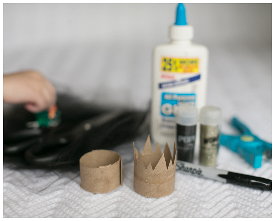Blog DIY Toilet Paper Glitter Crown with Tulle-3