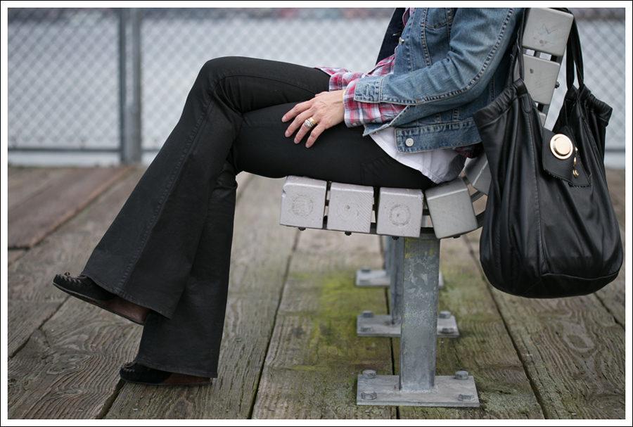 Blog Gap Denim Jacket Vintage Plaid Shirt J Brand Coated Flare Sam Edelman Moccasin Wedge Gustto Estiva Bag-2