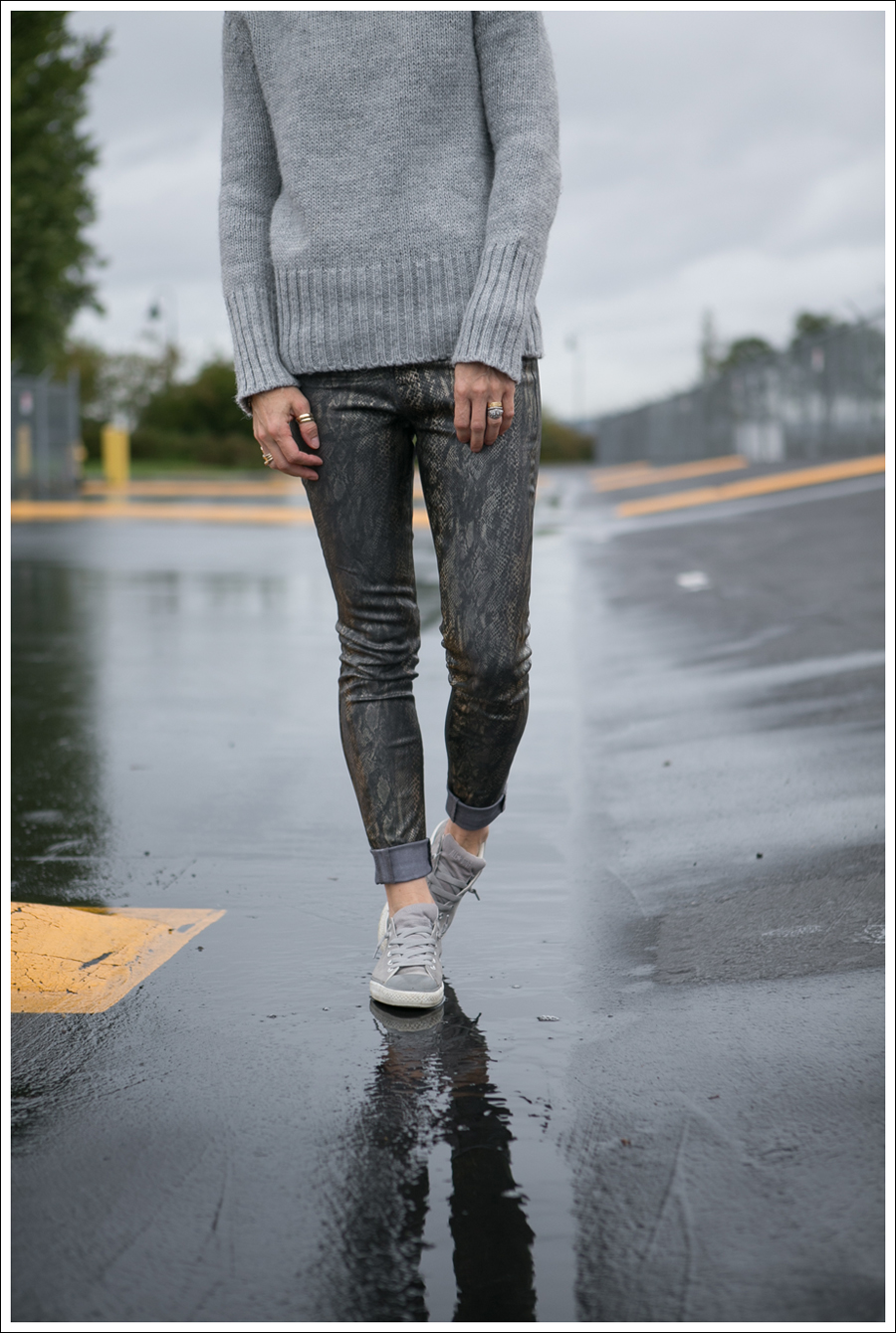Blog Gray Zara Funnel Neck Sweater Coated J Brand Python Skinny Jeans Gray Suede Converse-1