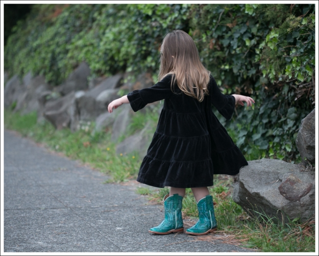 Blog Hanna Andersson Black Velour Twirl Dress Corral Teal Cowboy Boots-1