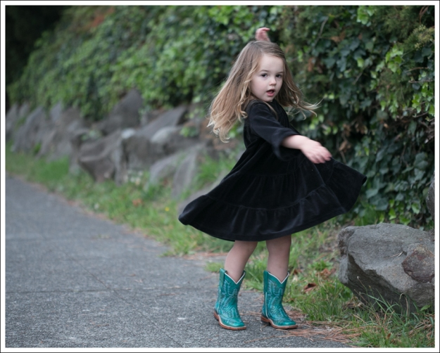 Blog Hanna Andersson Black Velour Twirl Dress Corral Teal Cowboy Boots-2