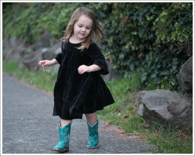 Blog Hanna Andersson Black Velour Twirl Dress Corral Teal Cowboy Boots-4
