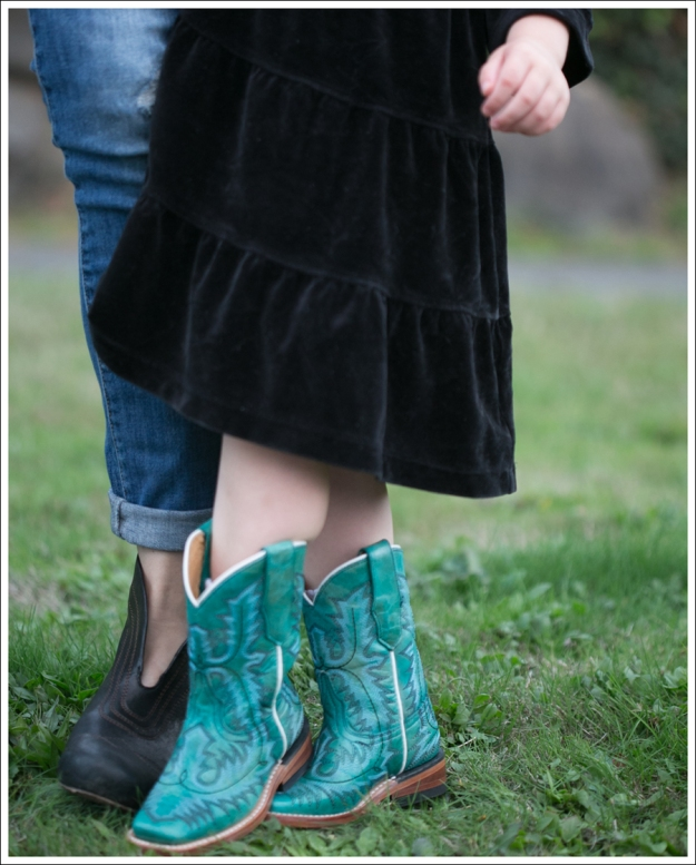 Blog Hanna Andersson Black Velour Twirl Dress Corral Teal Cowboy Boots-