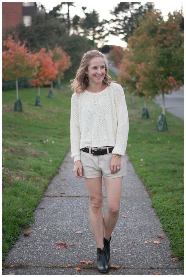 Blog HM Cream Sweater Current Elliott Boyfriend Leather Shorts SixtySeven Blake Bootie-1