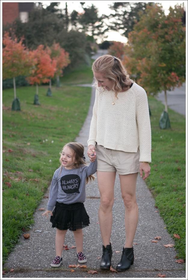 Blog HM Cream Sweater Current Elliott Boyfriend Leather Shorts SixtySeven Blake Bootie-5