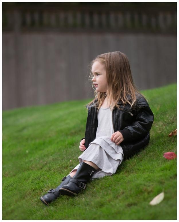 Blog HM Faux Leather Jacket Gap Gray Flamenco Dress Xhiliration Moto Boots-1