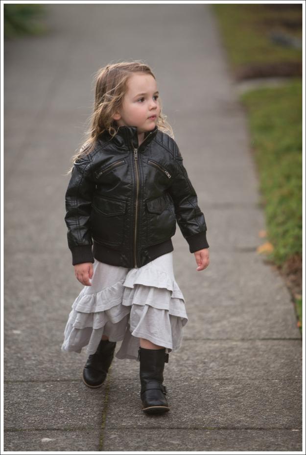 Blog HM Faux Leather Jacket Gap Gray Flamenco Dress Xhiliration Moto Boots-2