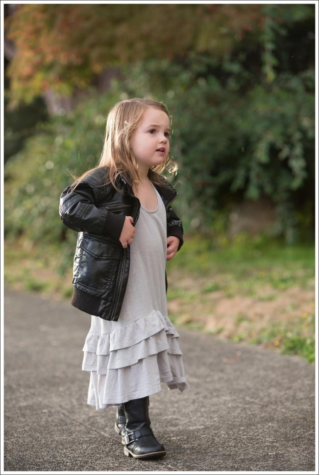 Blog HM Faux Leather Jacket Gap Gray Flamenco Dress Xhiliration Moto Boots-4