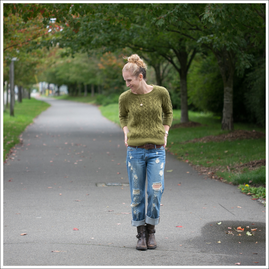 Blog J Crew Olive Fishermans Sweater Blank NYC Destroyed Relaxed Straight Leg Cafe Noire Harness Boots-1