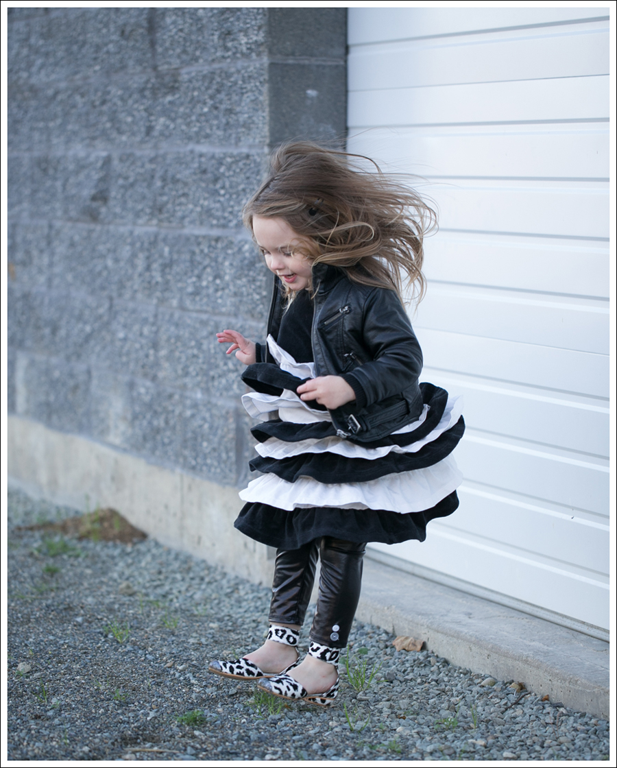 Blog Amy Coe Hanna Andersson BW Tiered Dress Zulily Faux Leather Leggings DIY Glitter Shoes-4