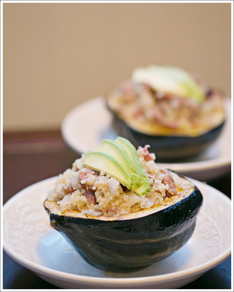 Blog Baked Acorn Squash Stuffed with Quinoa Apples Chicken Sausage-10ce