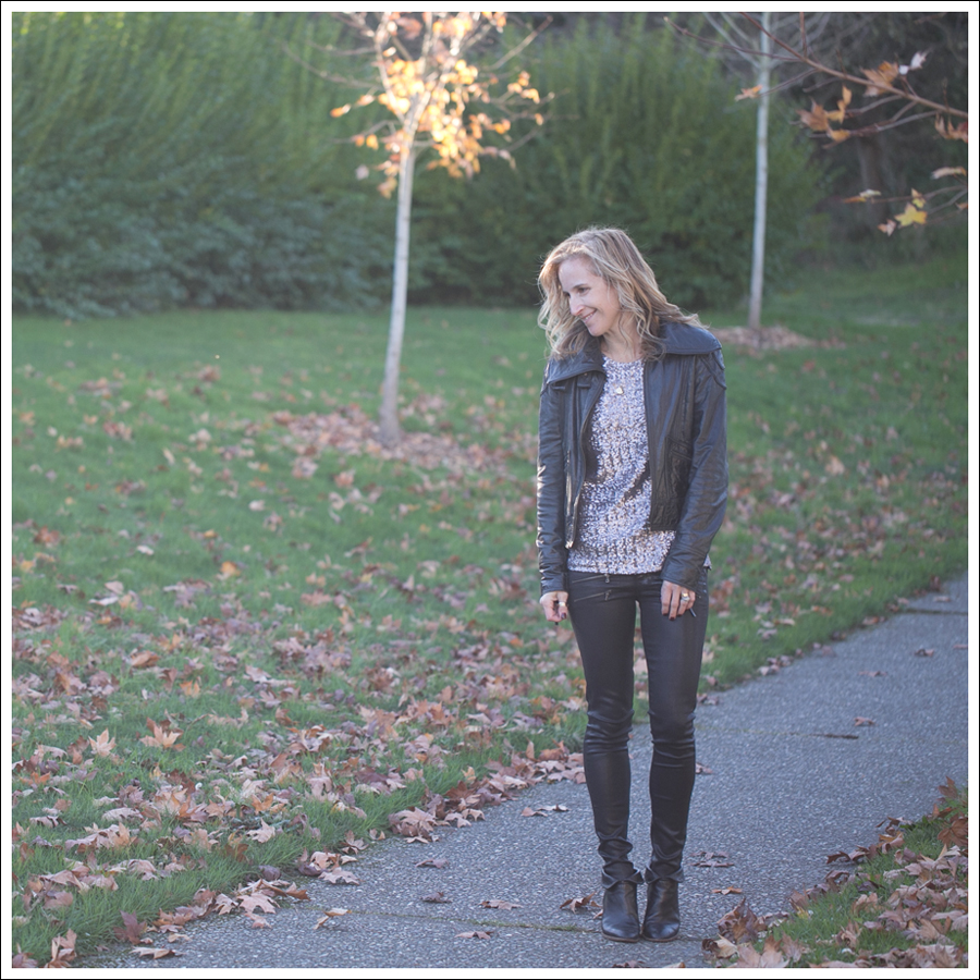 Blog Doma Leather Jacket Velvet Sequin Top Paige Edgemont Coated Paul and Joe Booties-1