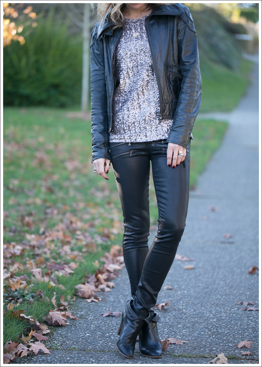 Blog Doma Leather Jacket Velvet Sequin Top Paige Edgemont Coated Paul and Joe Booties-2