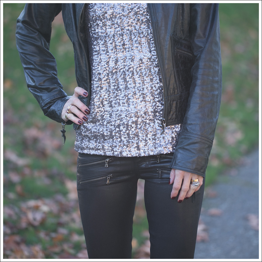 Blog Doma Leather Jacket Velvet Sequin Top Paige Edgemont Coated Paul and Joe Booties-3