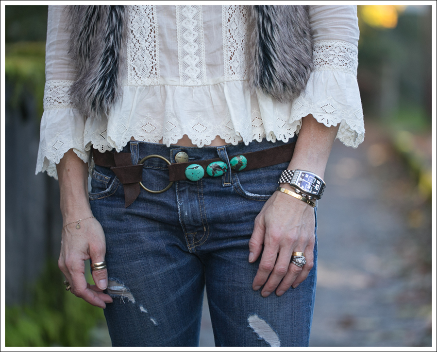 Blog Faux Fur Vest Free People Princess Gwendoline Top Streets Ahead Suede Turquoise Belt Current Elliott Destroyed Boyfriend Jeans Cafe Noire Booties-3