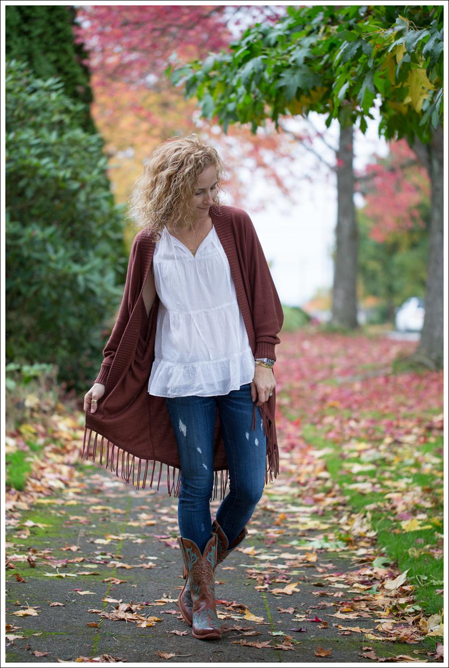 Blog Jamison Fringe Sweater Talbots White Sleevless Blouse Genetic Denim Twig in Strip Lucchese Cowboy Boots-1