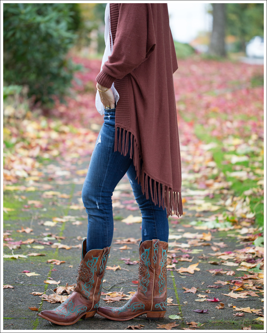 Blog Jamison Fringe Sweater Talbots White Sleevless Blouse Genetic Denim Twig in Strip Lucchese Cowboy Boots-2