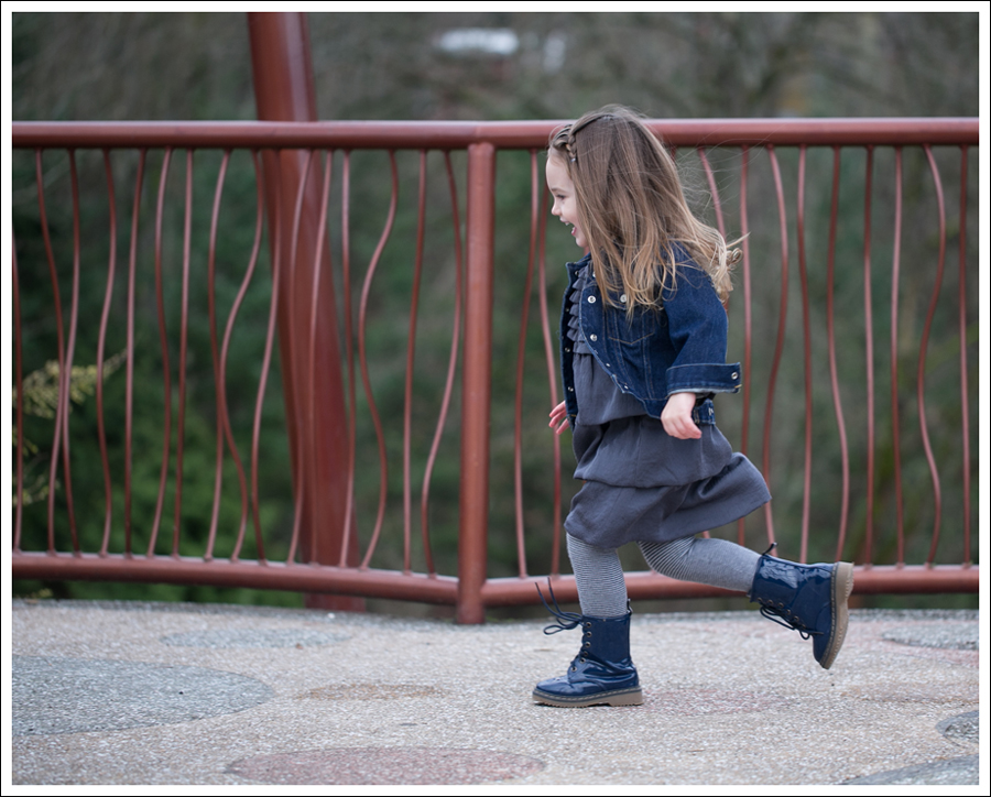 Blog Baby Gap Jean Jacket Gray Dress Link Boots-1