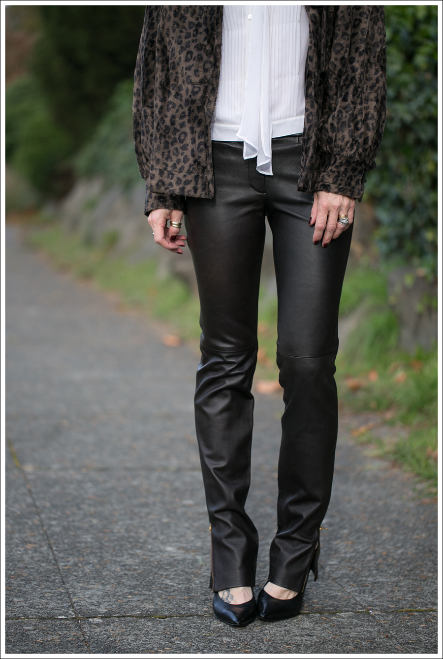 blog Charles Gray Leopard Jacket Vince Blouse Milly Leather Ankle Zip Pants Via Spiga Pumps-2