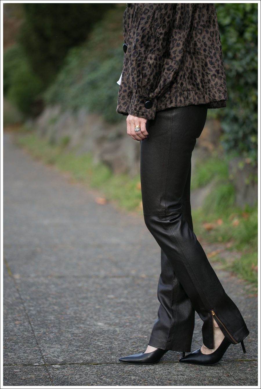 blog Charles Gray Leopard Jacket Vince Blouse Milly Leather Ankle Zip Pants Via Spiga Pumps-3