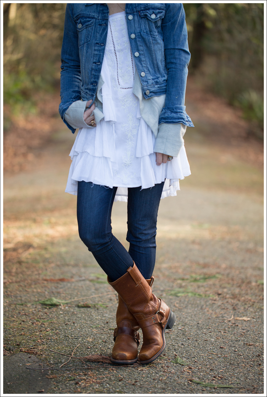 Blog Levis Jacket Inhabit Cashmere Cardigan Free People Sunbeams Dress DL1961 Emma Bloom Frye Harness Boots-1