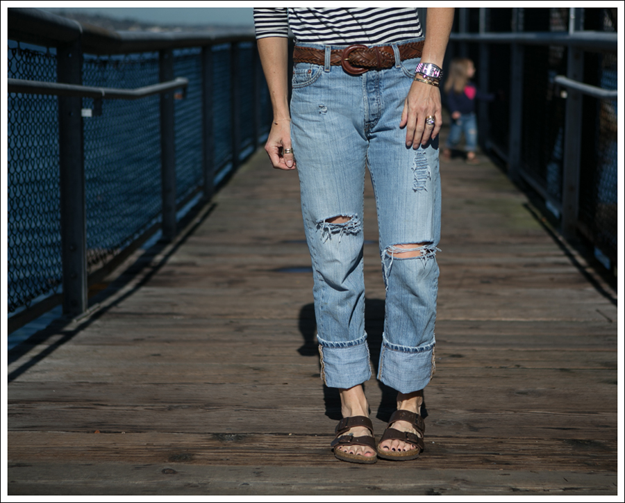 Blog Zara Stiped Crop Top Vintage DIY Destroyed Levis Birkenstocks-1