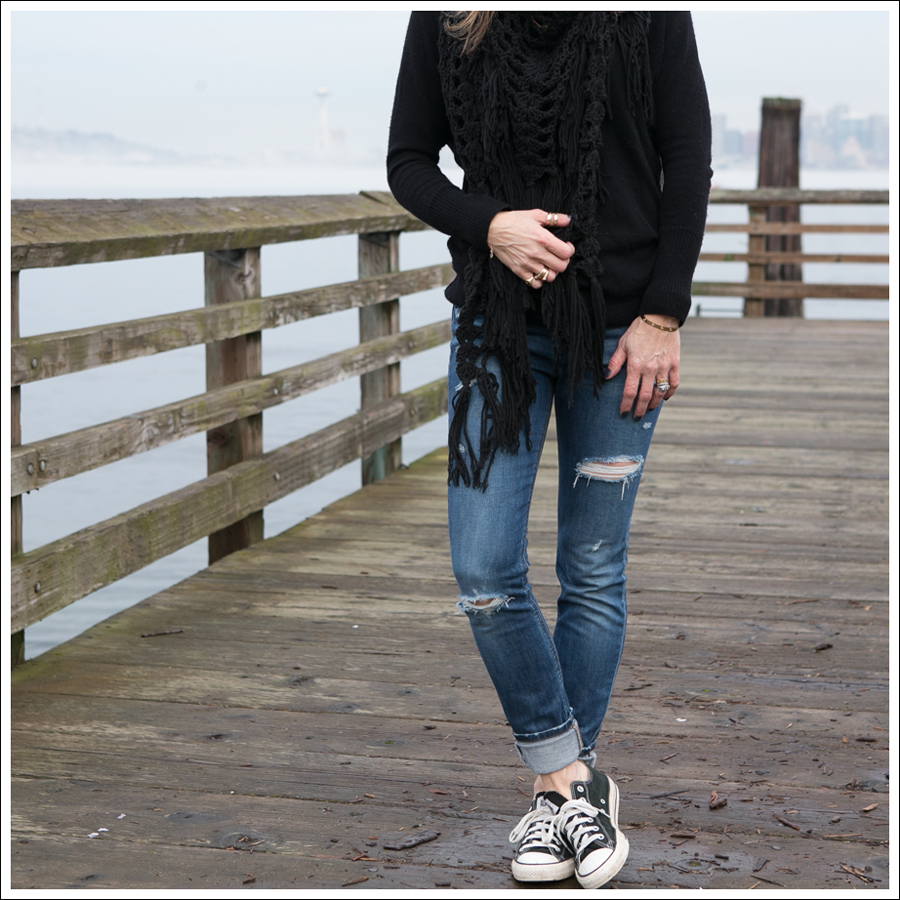 Blog Banana Republic Loose Knit Scarf Halogen Cashmere Sweater Joes Jeans the Skinny Destroyed Black Converse-1