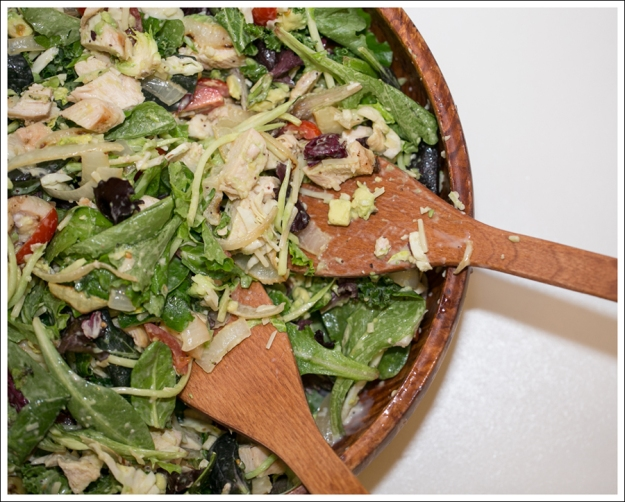 Blog Costco Grilled Chicken and Onion Kale Avocado Brussel Sprout Salad-1
