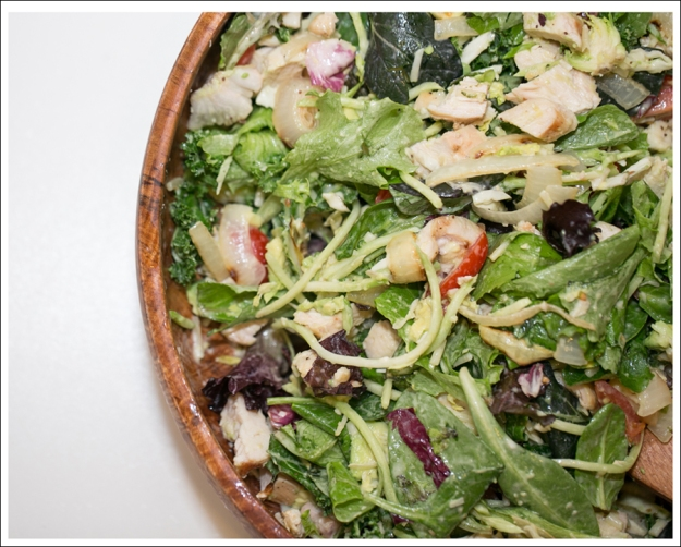 Blog Costco Grilled Chicken and Onion Kale Avocado Brussel Sprout Salad-3