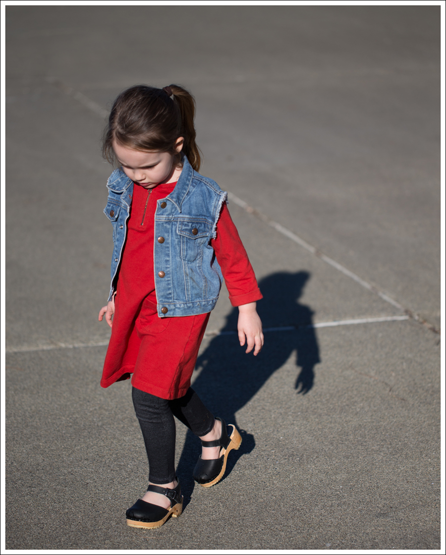 Blog Gap Denim Vest HM Red Zip Dress Levis Jeggings Sven Mary Jane Toddler Clogs-12