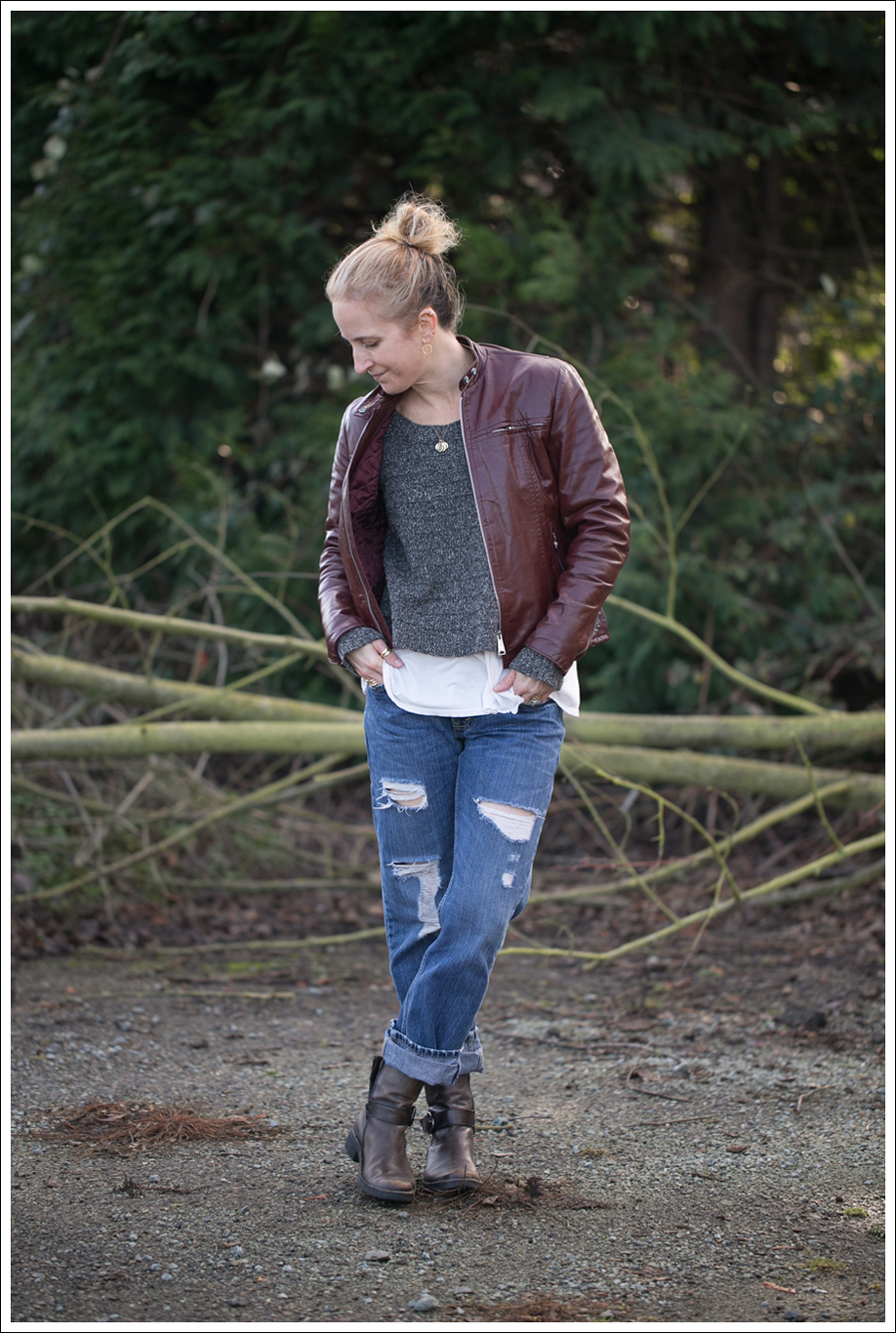 Blog Vintage leather Jacket StyleMint Carrington Sweater Destroyed Levis 514 Cafe Noire Boots-1