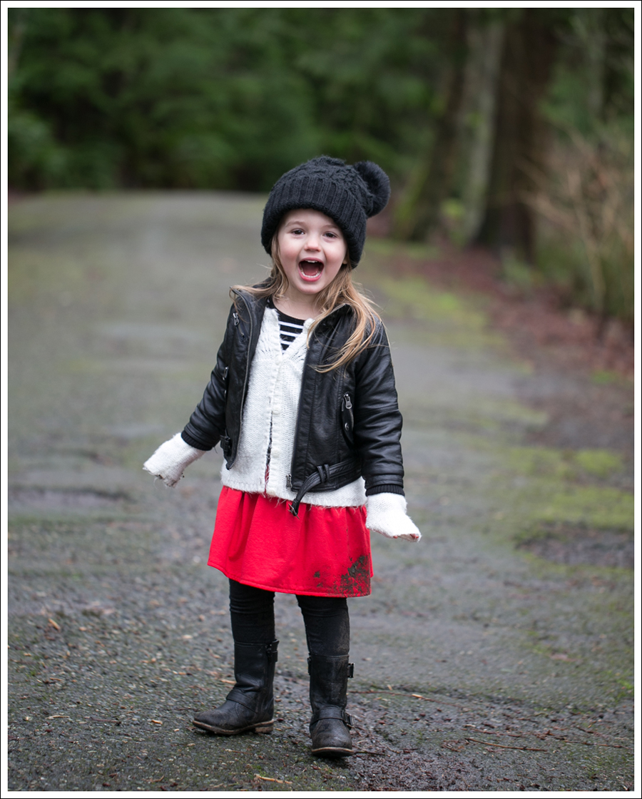 Blog Amy Coe Faux Leather Jacket Old Navy Cardigan GapKids Dress Levis Jeggings Xhiliration Moto Boots-11