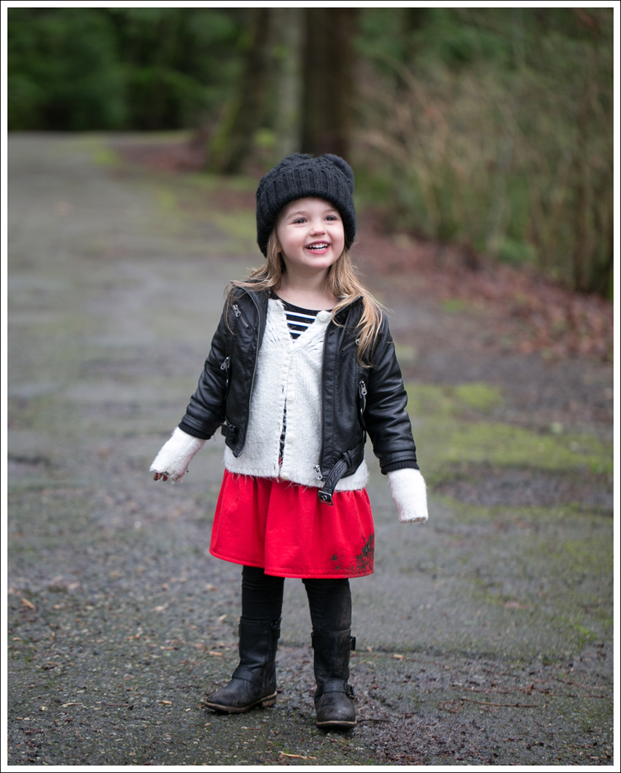 Blog Amy Coe Faux Leather Jacket Old Navy Cardigan GapKids Dress Levis Jeggings Xhiliration Moto Boots-9